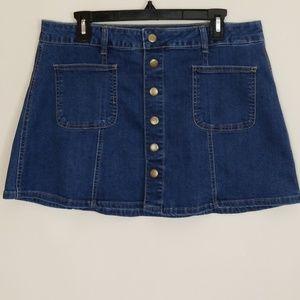 Alter'd state snap blue jean mini skirt large